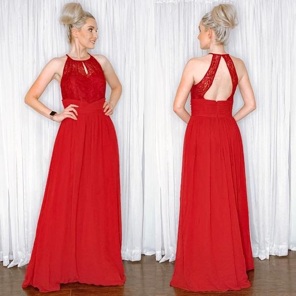 Jasmine Dresses & Skirts - Red Lace and Chiffon Long Bridesmaid Prom Dress